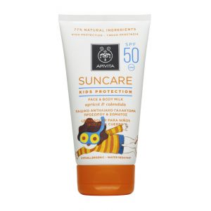 Apivita Suncare Kids Protection Face & Body Milk Spf50 Παιδικό Αντιηλιακό Γαλάκτωμα Για Πρόσωπο & Σώμα Με Βερύκοκο & Καλέντουλα 150ml
