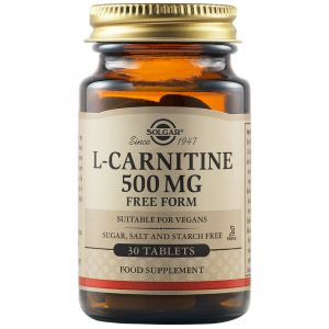 Solgar L-Carnitine Free Form 500mg L- Καρνιτίνη Για Την Ομαλή Λειτουργία Του Μεταβολισμού 30 Φυτικές Ταμπλέτες