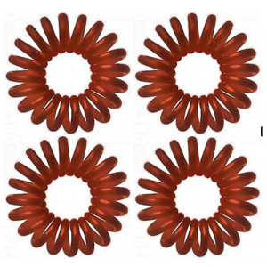 Molly & Rose Σχημα Spiral Καλωδιο Τηλεφωνου Λαστιχακιa γιαΤα Μαλλια Καφε 4 Τμχ