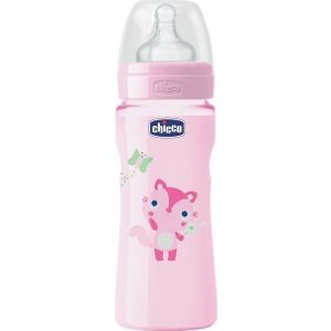 Chicco Well-Being Pink Mπιμπερο Πλαστικο με Θηλη Σιλικονης 4Μ+ 330 ml Cod.70735