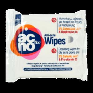 Intermed Acno Fix Wipes Μαντηλάκια Καθαρισμού για Λιπαρή Επιδερμίδα με Τάση Ακμής 15ΤΜΧ