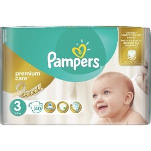 Pampers Premium Care No3 (5-9Kg) 40 Βρεφικές Πάνες