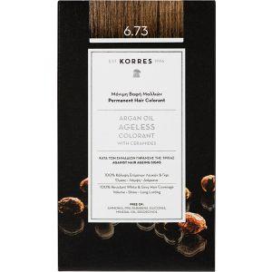 Korres Argan Oil Ageless Μόνιμη Βαφή Μαλλιών 6.73 Χρυσό Κακάο 1 τμχ