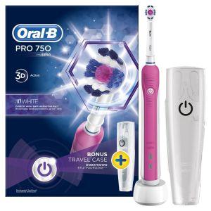 Oral-B Pro 750 3D White Ηλεκτρική Οδοντόβουρτσα Για Φυσικά Πιο Λευκά Δόντια & Δώρο Θήκη Ταξιδίου Ροζ Χρώμα 1τμχ
