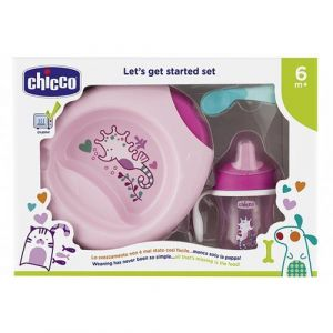 Chicco Let's Get Started Σετ Φαγητού 6M+ Ροζ 3τμχ