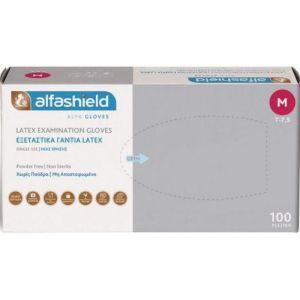 Alfashield Εξεταστικά Γάντια Latex Χωρίς Πούδρα Medium 100τμχ