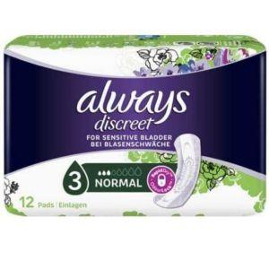 Always Discreet Normal Σερβιέτες Για Την Ακράτεια 12τμχ