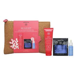 Apivita Πακέτο Set Bee Sun Safe Hydra Sensitive Soothing Face Cream SPF50+ Σετ Καταπραϋντική Κρέμα Προσώπου Για Ευαίσθητες Επιδερμίδες SPF50+ & Δώρο Αqua Beelicious Hydrating Booster 10ml & Express Beauty Μάσκα Προσώπου 2x8ml