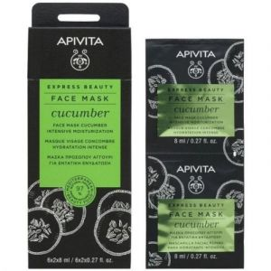 Apivita Express Beauty Μάσκα Για Εντατική Ενυδάτωση Με Αγγούρι 2X8ml