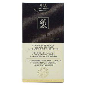 Apivita My Color Elixir Μόνιμη Βαφή Μαλλιών No 5.18 Καστανό Ανοιχτό Σαντρέ Περλέ 50ml+75ml