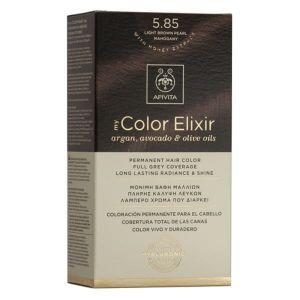Apivita My Color Elixir Μόνιμη Βαφή Μαλλιών No 5.85 Καστανό Ανοιχτό Περλέ Μαονί 50 ml+75 ml