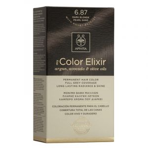 Apivita My Color Elixir Μόνιμη Βαφή Μαλλιών No 6.87 Ξανθό Σκούρο Περλέ Μπεζ 50 ml+75 ml