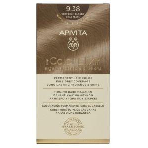 Apivita My Color Elixir Μόνιμη Βαφή Μαλλιών No 9.38 Ξανθό Πολύ Ανοιχτό Μελί Περλέ 50 ml+75 ml