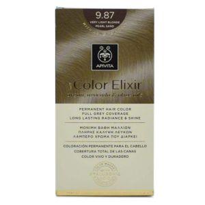 Apivita My Color Elixir Μόνιμη Βαφή Μαλλιών No 9.87 Ξανθό Πολύ Ανοιχτό Περλέ Μπεζ 50 ml+75 ml