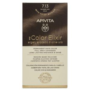 Apivita My Color Elixir Μόνιμη Βαφή Μαλλιών No 7.13 Ξανθό Σαντρέ Μελί 50ml+75ml