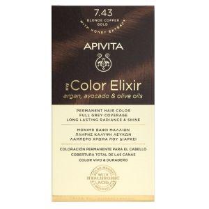 Apivita My Color Elixir Βαφή Μαλλιών No 7.43 Ξανθό Χάλκινο Μελί 50ml + 75ml