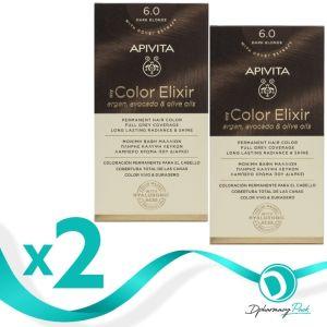 Apivita Πακέτο 1+1 Δώρο My Color Elixir Μόνιμη Βαφή Μαλλιών No 6.0 Ξανθό Σκούρο 50ml+75ml x2