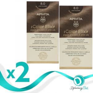 Apivita Πακέτο 1+1 Δώρο My Color Elixir Μόνιμη Βαφή Μαλλιών No 8.0 Ξανθό Ανοιχτό 50ml+75ml x2