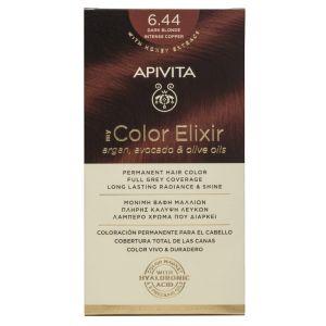 Apivita My Color Elixir Μόνιμη Βαφή Μαλλιών No 6.44 Ξανθό Σκούρο Έντονο Χάλκινο 50ml+75ml