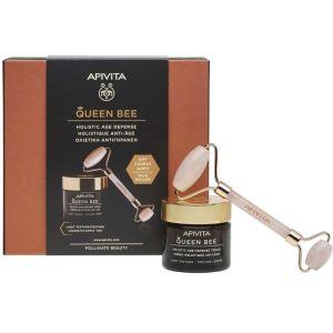 Apivita Πακέτο Promo Set Queen Bee Σετ Kρέμα Ημέρας Ολιστικής Αντιγήρανσης Ελαφριάς Υφής 50ml & Δώρο Premium Face Roller Για Μασάζ Προσώπου