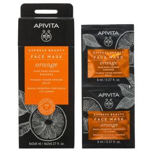 Apivita Express Μάσκα με Πορτοκάλι Για Λάμψη 2x8ml