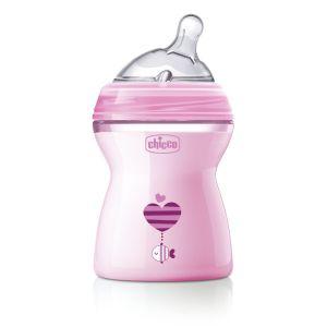 Chicco Πλαστικό Μπιμπερό Natural Feeling Με Θηλή Σιλικόνης Ροζ 2m+ 250ml