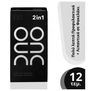 Duo 2 In 1 Ultra Thin Προφυλακτικά 6τμχ & Natural Λιπαντικό Gel 6 Τμχ