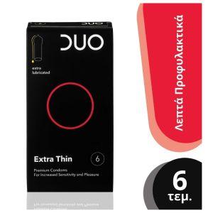 Duo Extra Thin Premium Condoms Λεπτά Προφυλακτικά Με Λιπαντικό Για Έντονη Αίσθηση 6τμχ