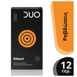 Duo Ribbed Premium Condoms Προφυλακτικά Με Ραβδώσεις Για Έντονη Διέγερση 12τμχ