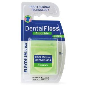Elgydium Dental Floss Fluoride Οδοντικό Νήμα Ελαφρώς Κηρωμένο Με Φθόριο & Γεύση Μέντα 35m