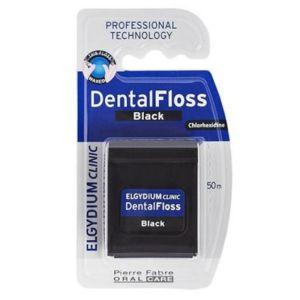 Elgydium Dental Floss Black Οδοντικό Νήμα Με Χλωρεξιδίνη 50m