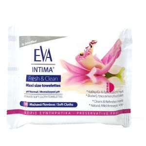 Eva Intima Fresh & Clean Μαλακά Πανάκια Καθαρισμού Ευαίσθητης Περιοχής Pocket Size 10 Τμχ