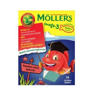 Moller's Παιδικά Ζελεδάκια Μουρουνέλαιου Ψαράκια με Γεύση Φράουλα 36 Ζελεδάκια