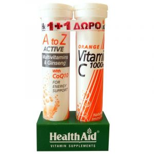 Health Aid A To Z Active Multivitamins & Ginseng With Q10 20 Tabs & Δώρο Vitamin C 1000mg Orange 20tabs