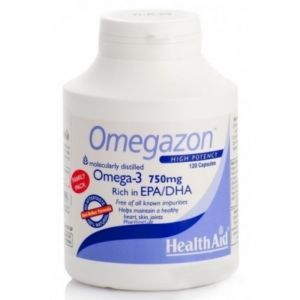 Health Aid Omegazon Omega-3 750mg Ωμέγα 3 Συμπυκωμένα Ιχθυέλαια 120Caps