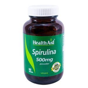 Health Aid Spirulina 500Mg Σκεύασμα με Σπιρουλίνα για Τόνωση του Οργανισμού & Απώλεια Βάρους 60 Φυτικές Ταμπλέτες