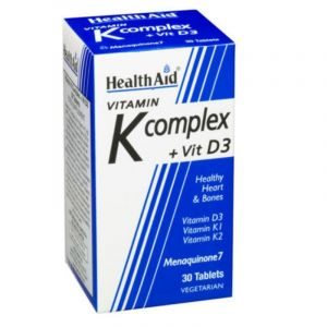 Health Aid Vitamin K Complex + Vit D3 Σύμπλεγμα Βιταμινών Για Υγιή Οστά & Καρδιά 30 Φυτικές Κάψουλες