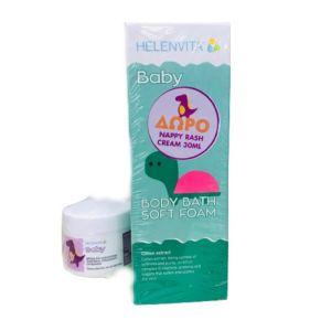 Helenvita Promo Baby Body Soft Foam Εξαιρετικά Ήπιος Αφρός Καθαρισμού 400ml & Δώρο Nappy Rash Cream Κρέμα Για Την Αλλαγή Της Πάνας 30ml