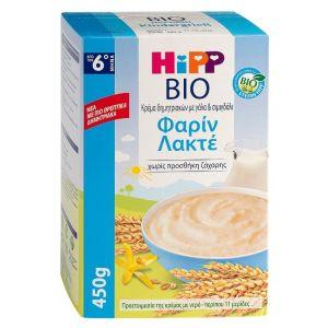 Hipp Bio Φαρίν Λακτέ Κρέμα Δημητριακών με Γάλα Από τον 6ο Μήνα 450gr