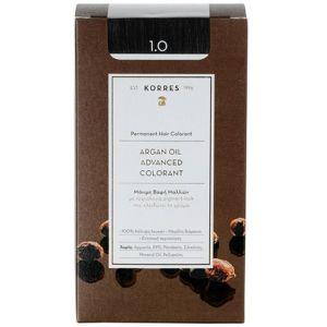 Korres Argan Oil Advanced Colorant Βαφή Μαλλιών 1.0 Μαύρο 50ml