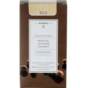 Korres Argan Oil Advanced Colorant Βαφή Μαλλιών 10.0 Ξανθό Πλατίνας 50ml