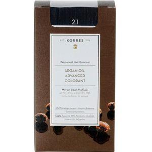 Korres Argan Oil Advanced Colorant Βαφή Μαλλιών 2.1 Μαύρο Μπλε 50 ml | Dpharmacy.gr