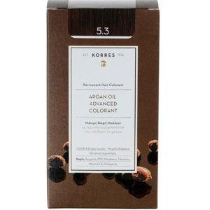 Korres Argan Oil Advanced Colorant Βαφή Μαλλιών 5.3 Καστανό Ανοικτό Χρυσό Μελί 50ml