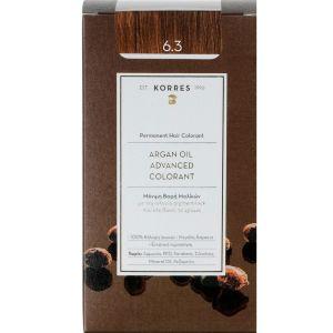 Korres Argan Oil Advanced Colorant Βαφή Μαλλιών 6.3  Ξανθό Σκούρο Χρυσό Μελί 50ml