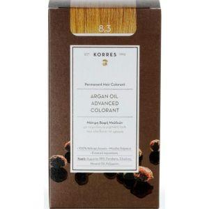 Korres Argan Oil Advanced Colorant Βαφή Μαλλιών 8.3 Ξανθό Ανοικτό Χρυσό Μελί 50ml