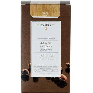 Korres Argan Oil Advanced Colorant Βαφή Μαλλιών 8.7 Καραμέλα 50ml