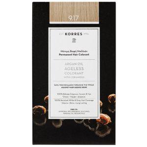 Korres Argan Oil Ageless Μόνιμη Βαφή Μαλλιών 9.17 Κατάξανθο Ανοιχτό Μπεζ 1τμχ | Dpharmacy.gr