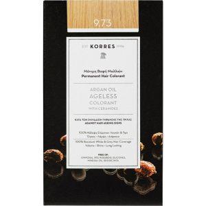 Korres Argan Oil Ageless Μόνιμη Βαφή Μαλλιών 9.73 Χρυσό Καστανό 1 Τμχ