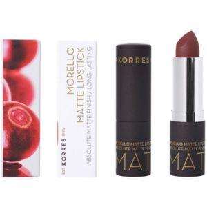 Korres Morello Matte Lipstick 55 Burgundy Leather Ματ Κραγιόν Με Κρεμώδη Υφή 3.5gr