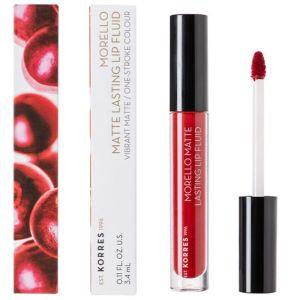 Korres Morello Matte Lasting Lip Fluid 59 Brick Red Υγρό Κραγιόν - Lipgloss Κόκκινο 3.4ml